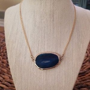 Beautiful gold plated necklace w/Blue flat stone